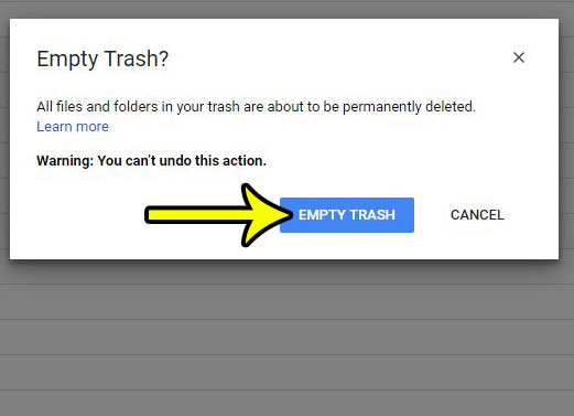 how to empty the trash in google drive