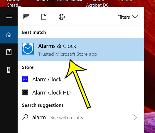 choose the alarms and clock search result