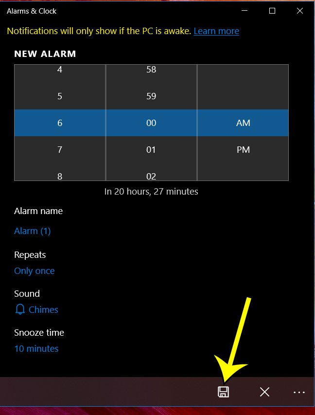 how to set a new windows 10 alarm