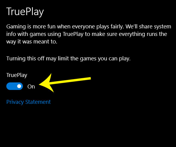how to enable or disable trueplay in windows 10