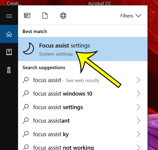 click on focus assist settings