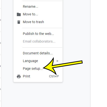 open the google docs page setup menu