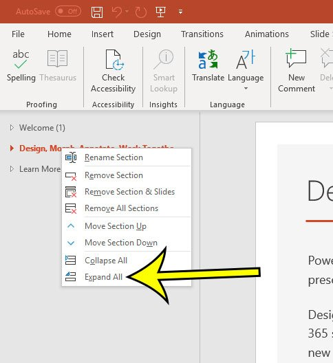 how to expand all sections in powerpoint
