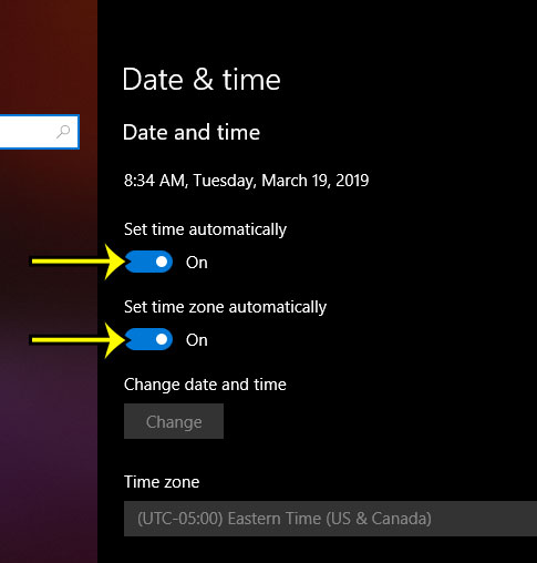 how to set the time automatically in windows 10