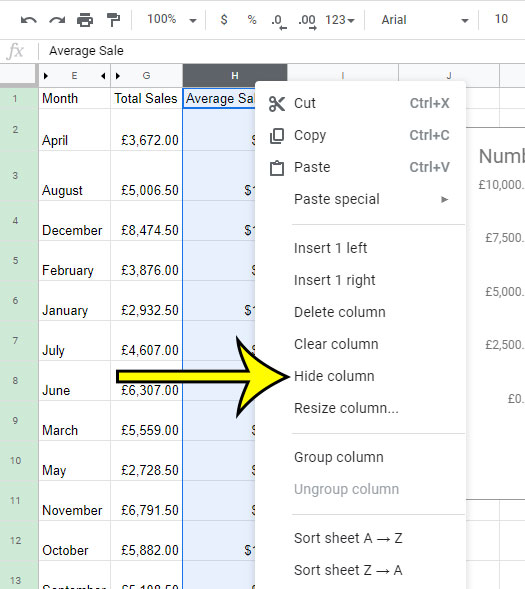 how to hide a column in google sheets
