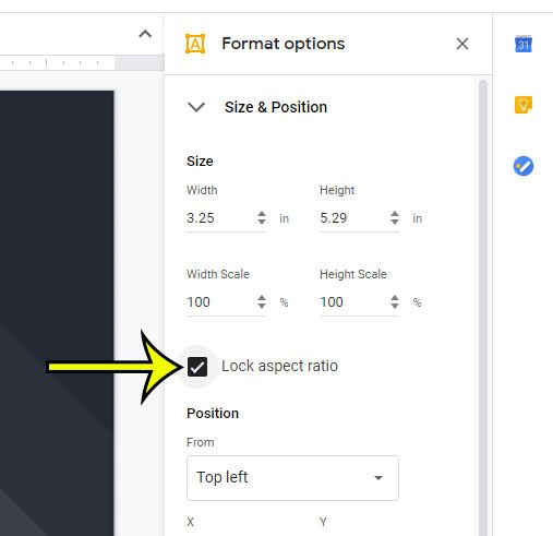 how to lock the aspect ratio for a picture in google slides