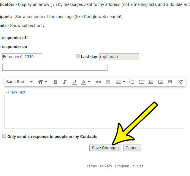 save changes to gmail settings