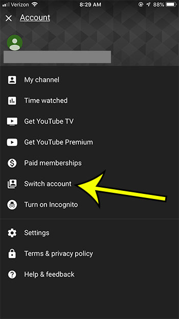 open the youtube settings menu