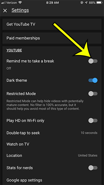 how to turn off the break reminder in the youtube iphone app