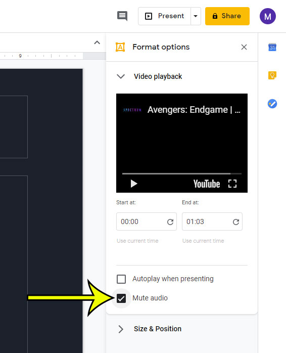 how to mute audio in a video in google slides