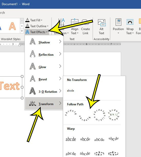 how to curve text in microsoft word