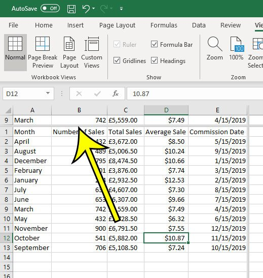 how to freeze a middle row in excel