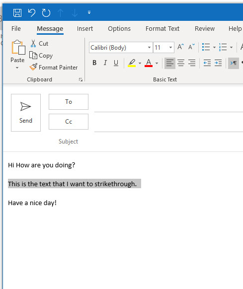how to strikethrough text in microsoft outlook