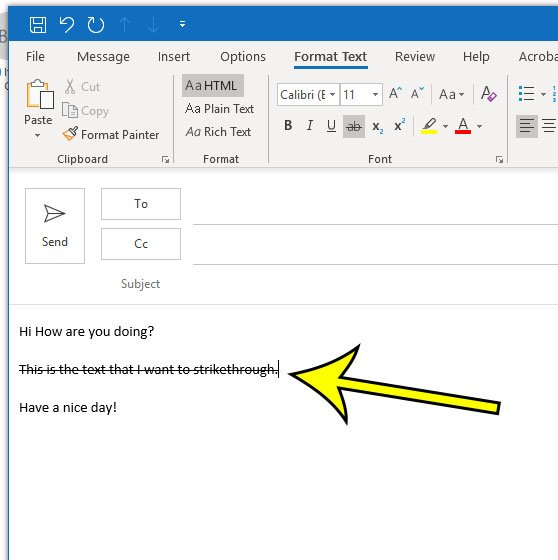 how to strike through text in microsoft outlook