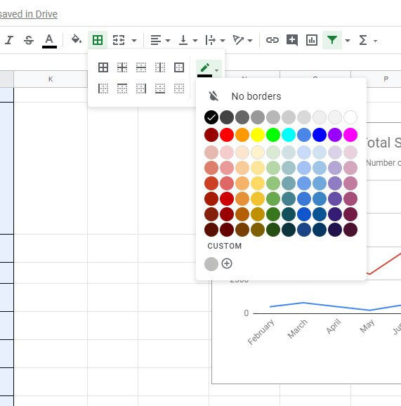 how to change cell border color in Google Sheets