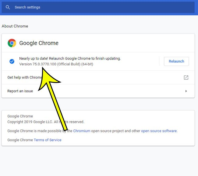 how to find the version number of the Google Chrome browser