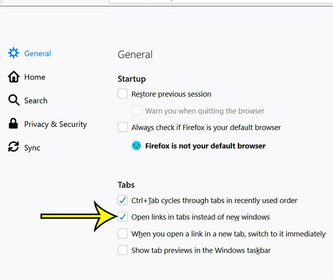 how to open links in tabs instead of windows in firefox