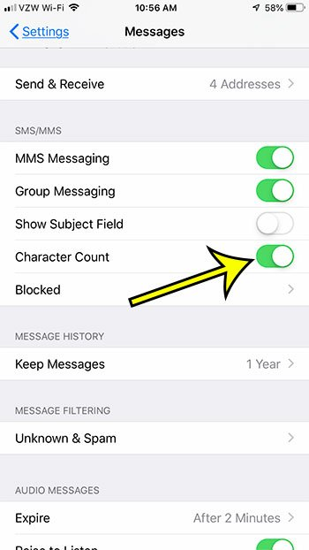 how to show a character count in iphone sms messages