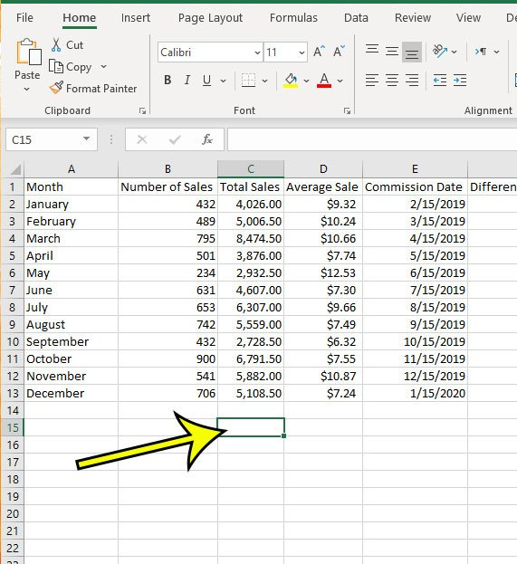 select the cell where you want to display the column sum