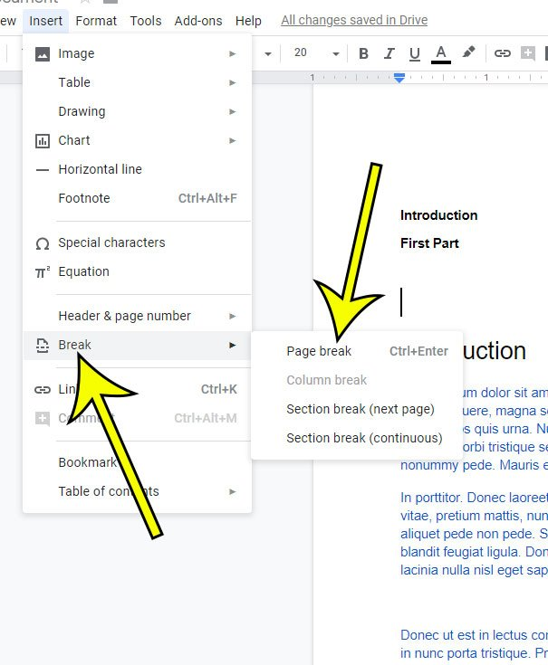 how to add a page on Google Docs