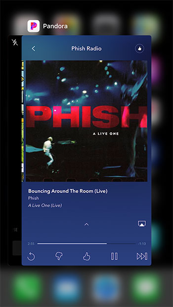 find Pandora in the app switcher