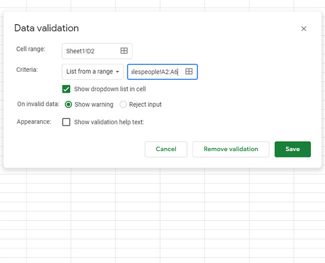 how to create a Google Sheets drop down
