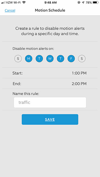 how to disable motion alerts on a schedule for the Ring video doorbell