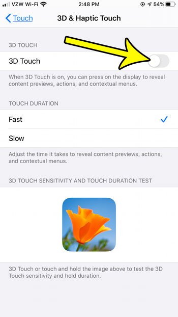 how to turn off 3d touch on an iPhone in iOS 13
