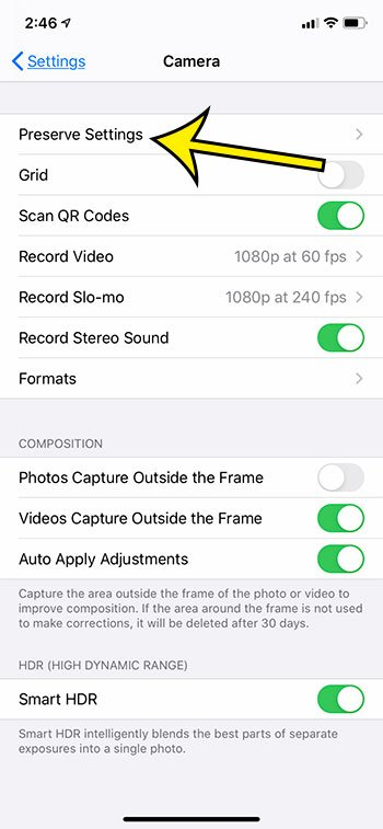 open the Camera Preserve Settings menu