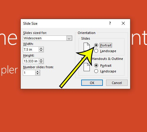 how to make Powerpoint slides vertical