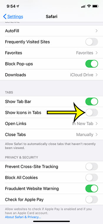 how to hide icons in Safari tabs on an iPhone 11