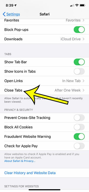 choose the Close Tabs option