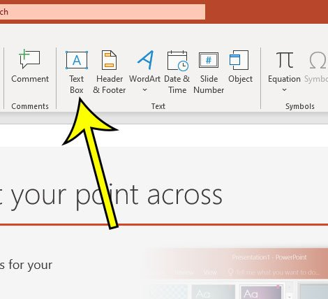 how to insert a text box in Powerpoint 2016