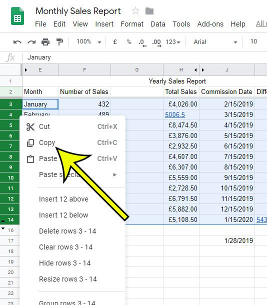 how to copy multiple rows in Google Sheets