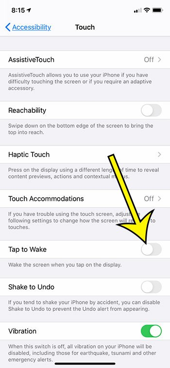 how to turn off Tap to Wake on an iPhone 11