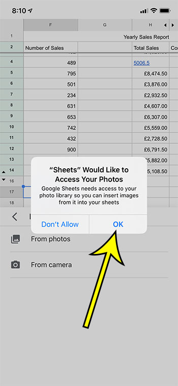 tap Ok to give Sheets access