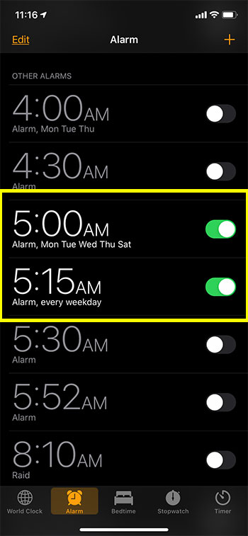 can I change the snooze time on my iPhone alarm?