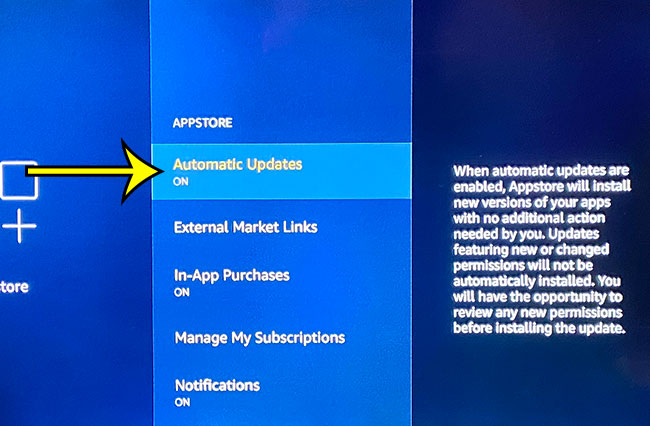 how to enable automatic updates on the Amazon Fire TV Stick
