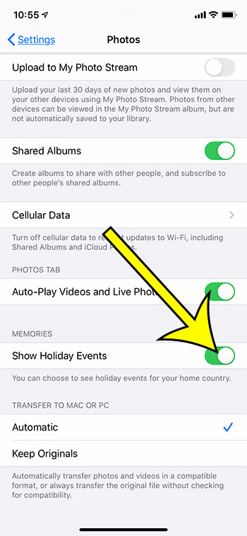 what does show holiday events mean in Photos on my iPhone