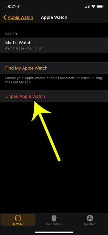 how to unpair an apple watch