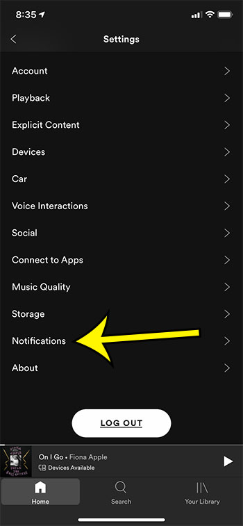 choose the Notifications option