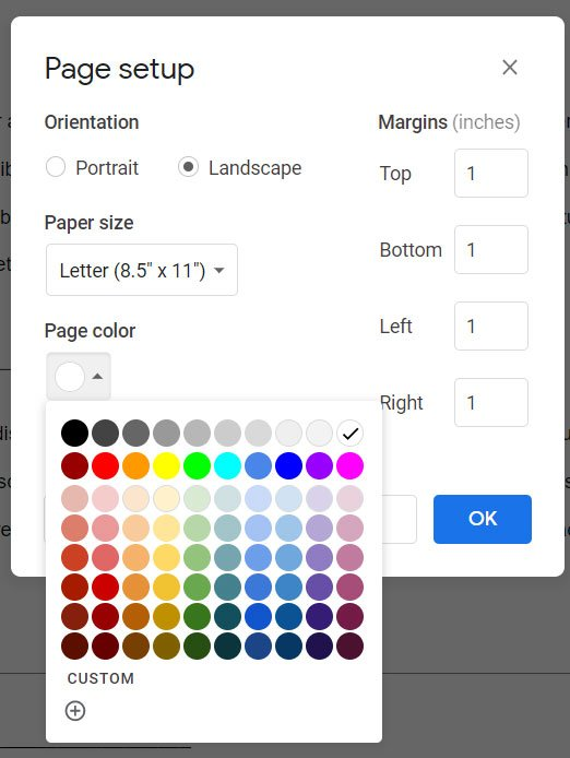 how to change the background in Google Docs