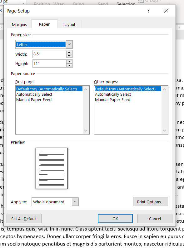 how to change the default paper size in Word