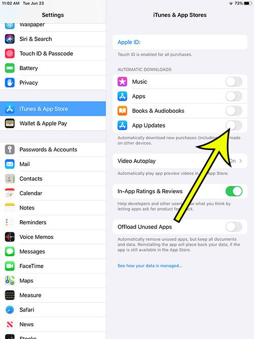 how to stop iPad apps from updating automatically