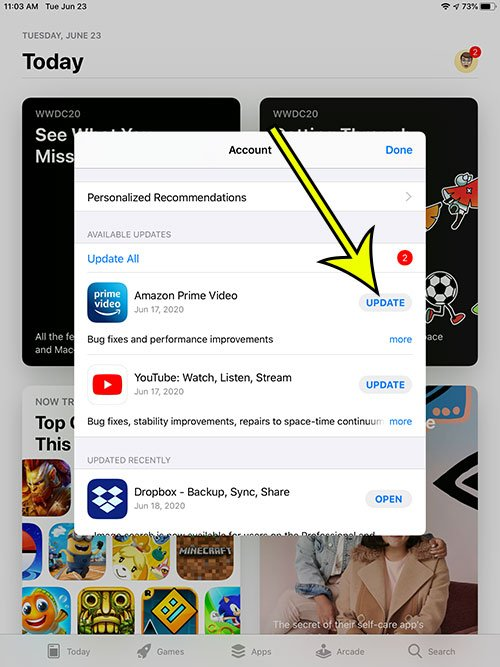 how to manually update an app on an iPad
