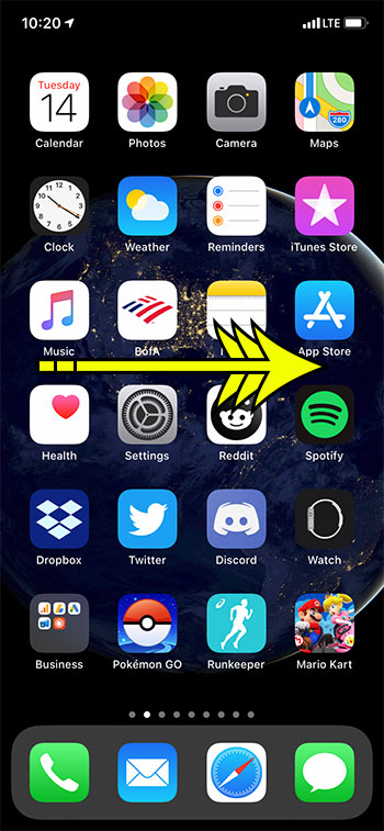 swipe right on the Home screen