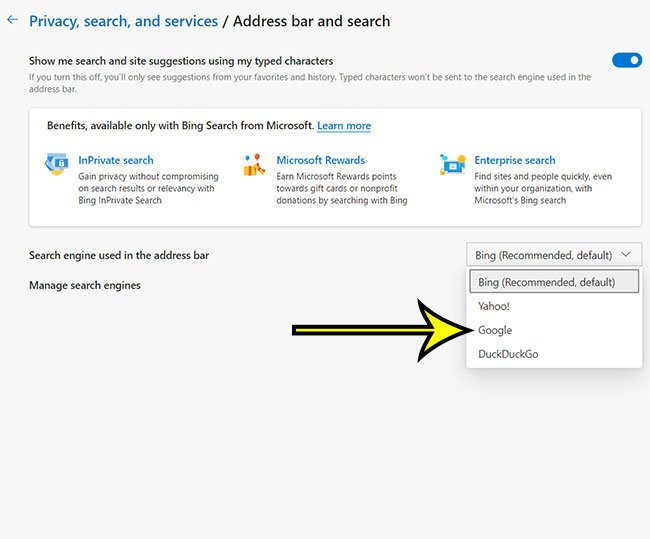 how to change default search engine from Bing to Google
