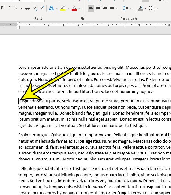 click inside the paragraph to indent