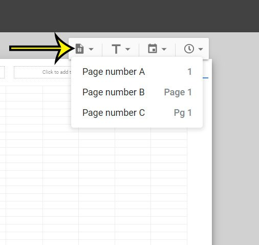 how to add page numbers to header in Google Sheets