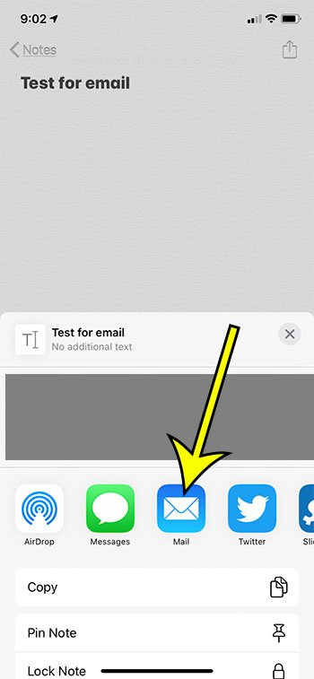 how to send notes from iPhone to email